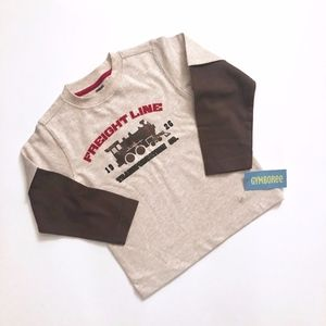 NWT Boys Gymboree Beige Brown Train Tee Shirt 4